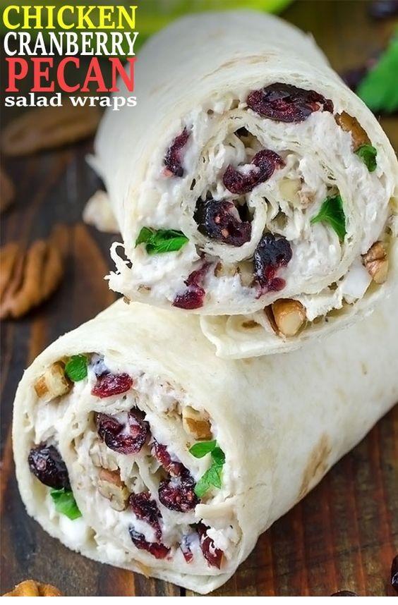 Chicken, Cranberry, Pecan Salad Wraps