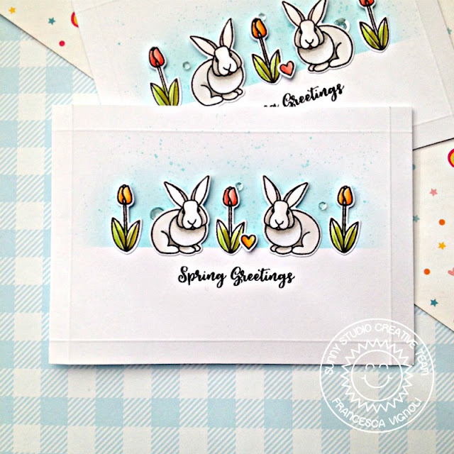 Sunny Studio Stamps: Spring Greetings Comic Strip Everyday Dies Spring Themed Card by Franci Vignoli