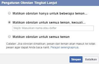 Cara Nonaktifkan Obrolan Facebook Untuk Semua atau Sebagian Teman