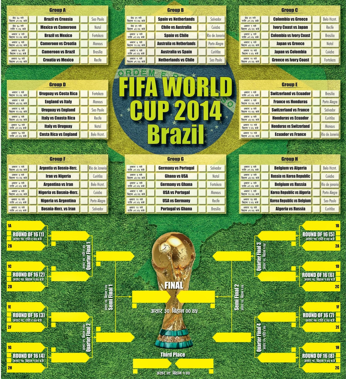 FIFA World Cup 2014 Tie Sheet / Schedule in Nepali Date