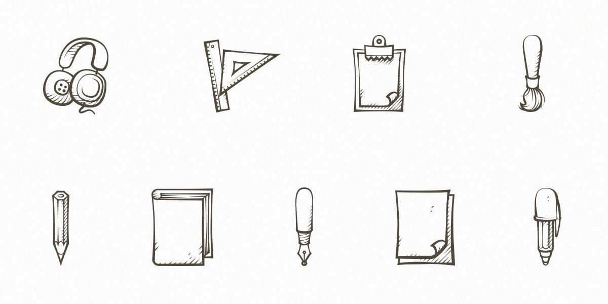 9 Free Hand Drawn Icons