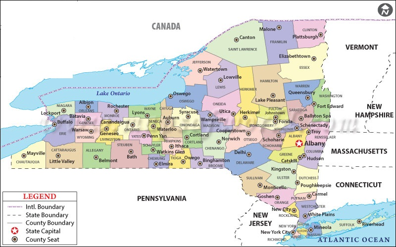 State Map of New York State of US