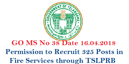 Public Services – Home Department - Recruitment – Filling of (325) Three Hundred and Twenty Five vacant posts in various categories under the control       of Director General, Telangana State Disaster Response & Fire Services,  Hyderabad by Direct Recruitment through Telangana State Level Police Recruitment Board (TSLPRB) and Telangana State Public Service Commission, Hyderabad (TSPSC) – Orders – Issued. go-ms-no-38-recruitment-of-325-various-posts-disaster-response-fire-services-telangana