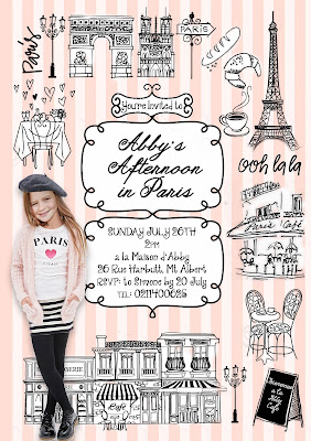 Paris Party Personalised invitation