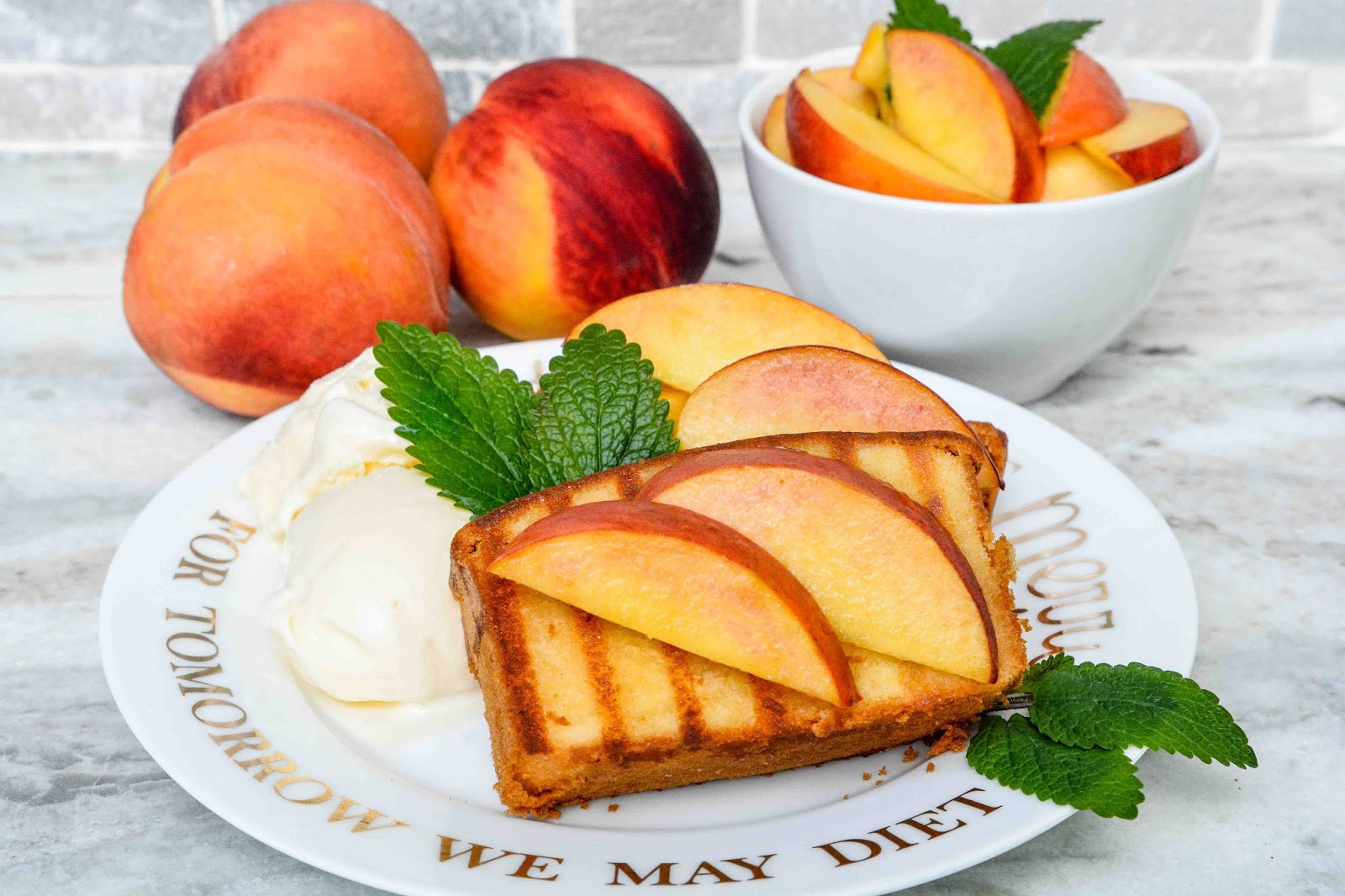 Pound Cake with Peaches