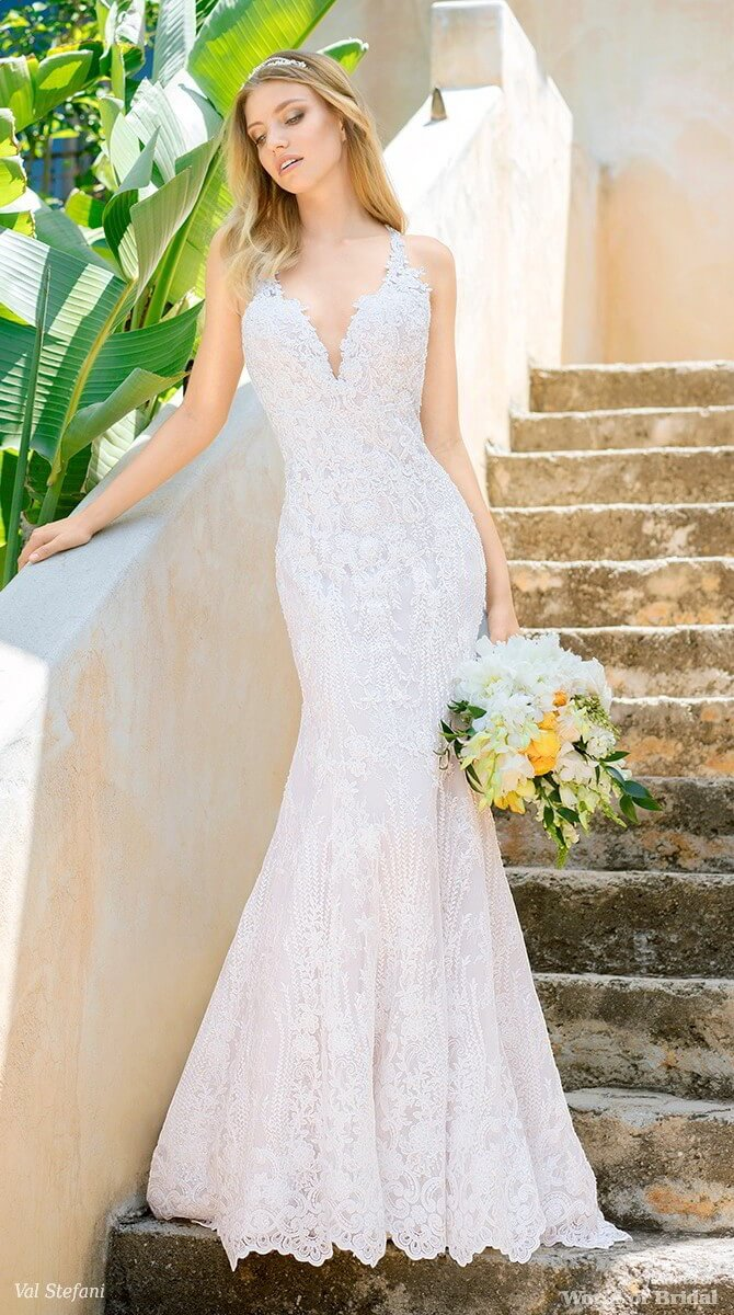 Val Stefani Spring 2018 Rustic Sparkly Lace Sweetheart Wedding Dress With Straps