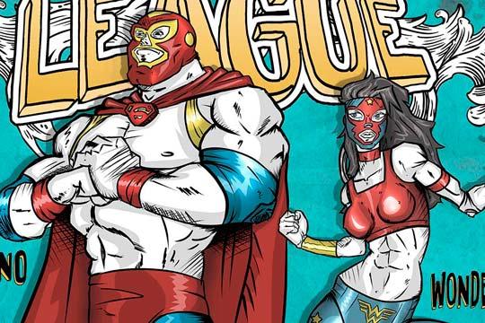 Ilustración, The lucha league de Gilberto García Jr.