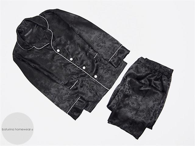 mens classic black silk pajamas bespoke gentleman style custom made tailored pyjamas