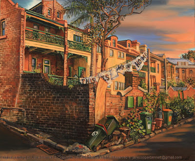 plein air oil painting of heritage terraces Millers Point with protest banners by Friends of Millers Point by industrial heritage artist Jane Bennett