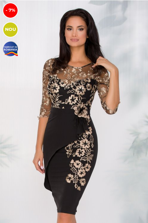 rochie neagra eleganta de ocazie cu tull brodat in zona bustului
