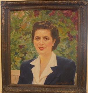 προσωπογραφία της Έλλης Νικολετοπούλου - Κρίσπη  έργο της Θάλειας Φλωρά - Καραβία στο Μουσείο του Πανεπιστημίου Αθηνών