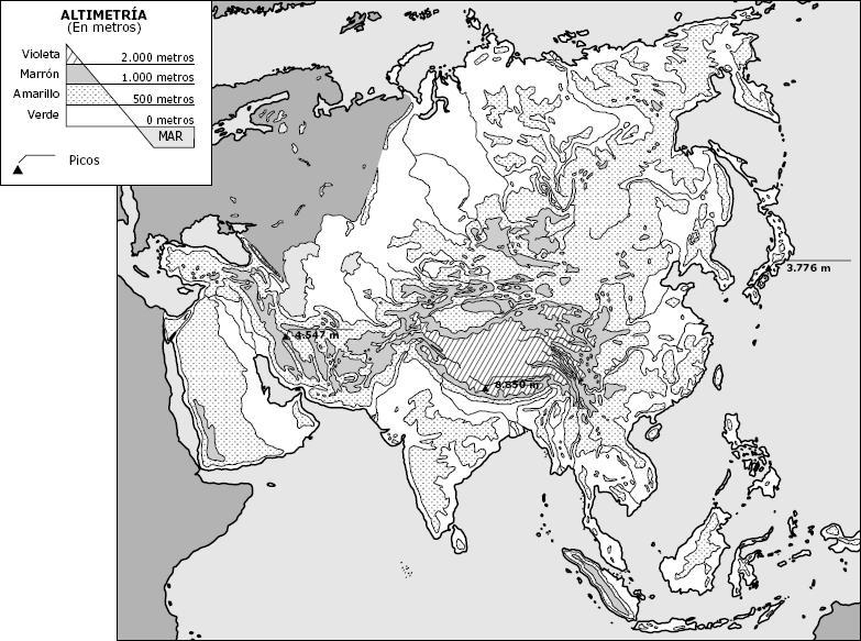 Mapa Fisico Asia Mudo Blanco Y Negro.Mapa Mudo Fisico Asia Blanco