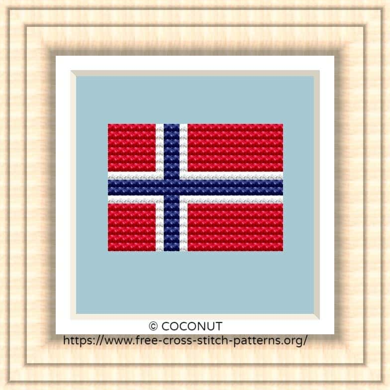 NATIONAL FLAG OF NORWAY CROSS STITCH CHART