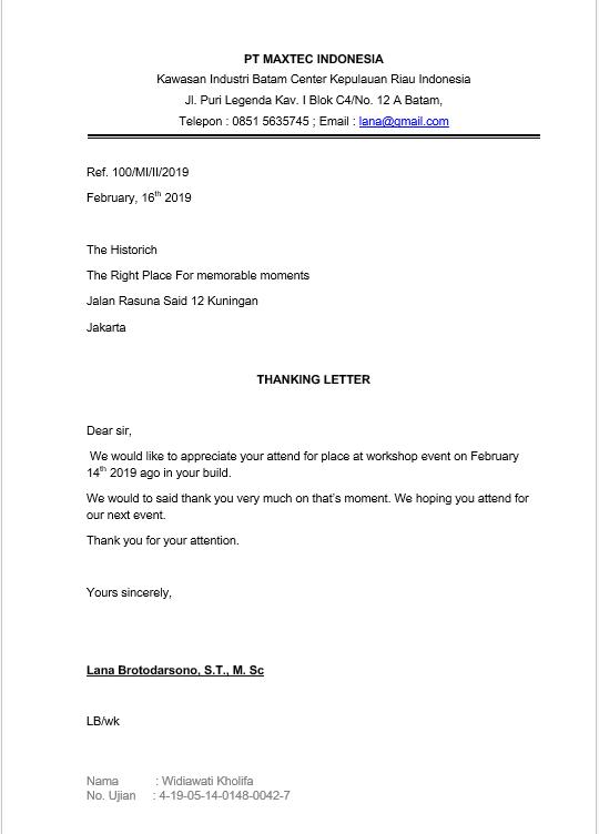 Contoh Surat Bahasa Inggris Thanking Letter Surat Niaga