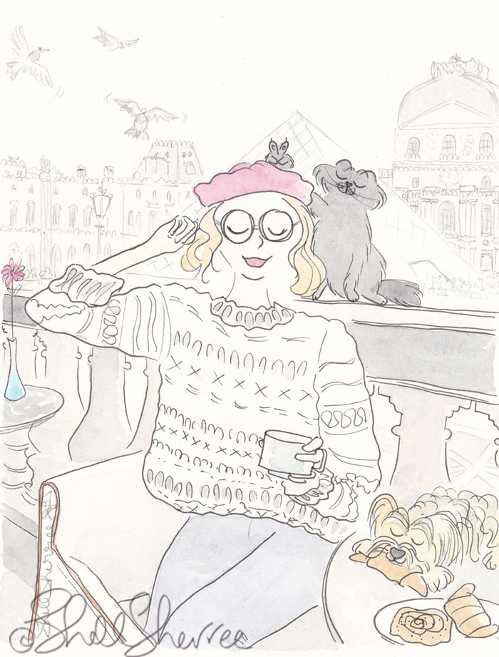 Cafe Marly Louvre Paris fashion dog cat illustration © Shell Sherree all rights reserved