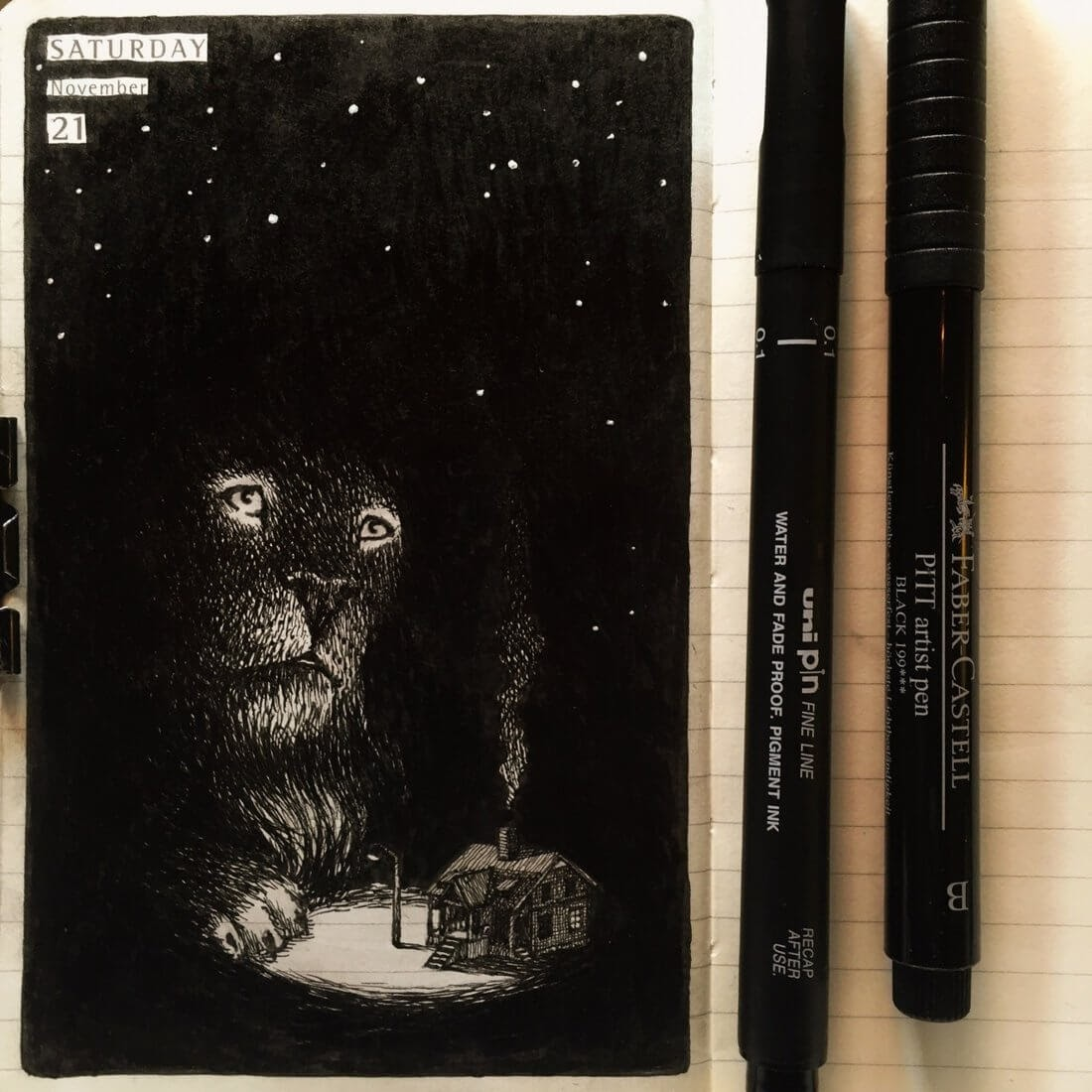 08-Alone-in-the-Dark-Nina-Johansson-Moleskine-Diary-of-Surreal-Ink-Drawings-www-designstack-co