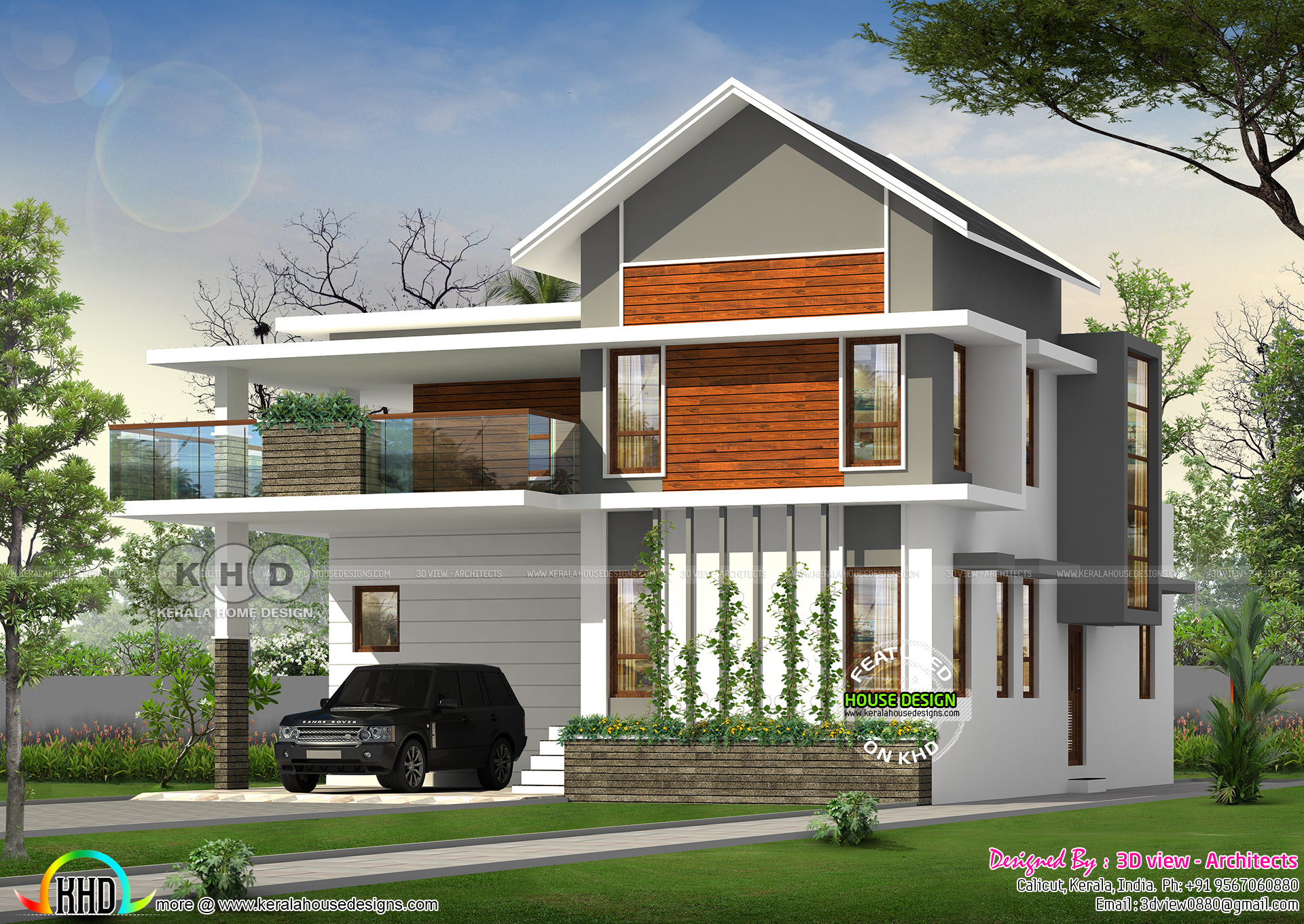 2240 Square Feet 4 Bedroom Sloping Roof Mix Home Kerala