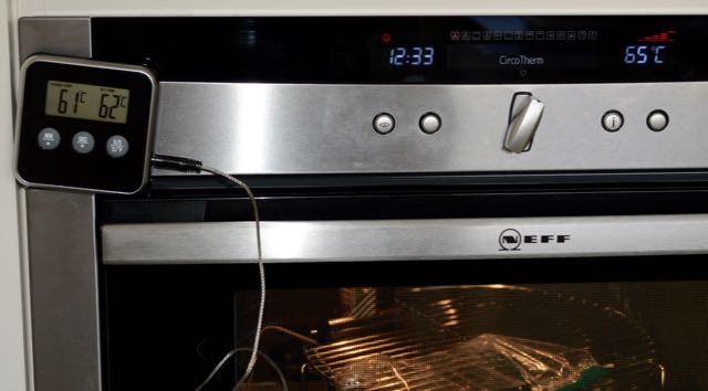 The oven set up for sous vide