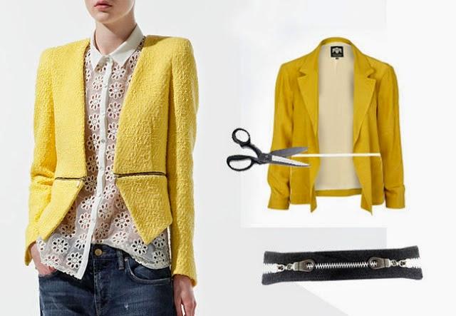 blazer, chaquetón, cazadora, labores, refashion, bricomoda, moda