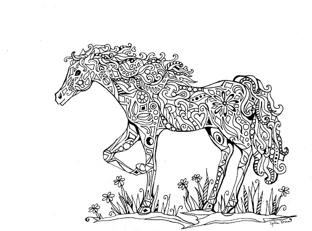 Find More Coloring Pages Online For Kids And Adults Of Adults Difficult  Animals Horse Printable Hd