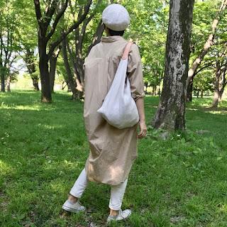 麻とレザーのワンベルトバッグ