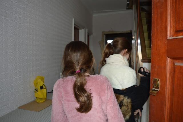 Steph's Two Girls walking into new house