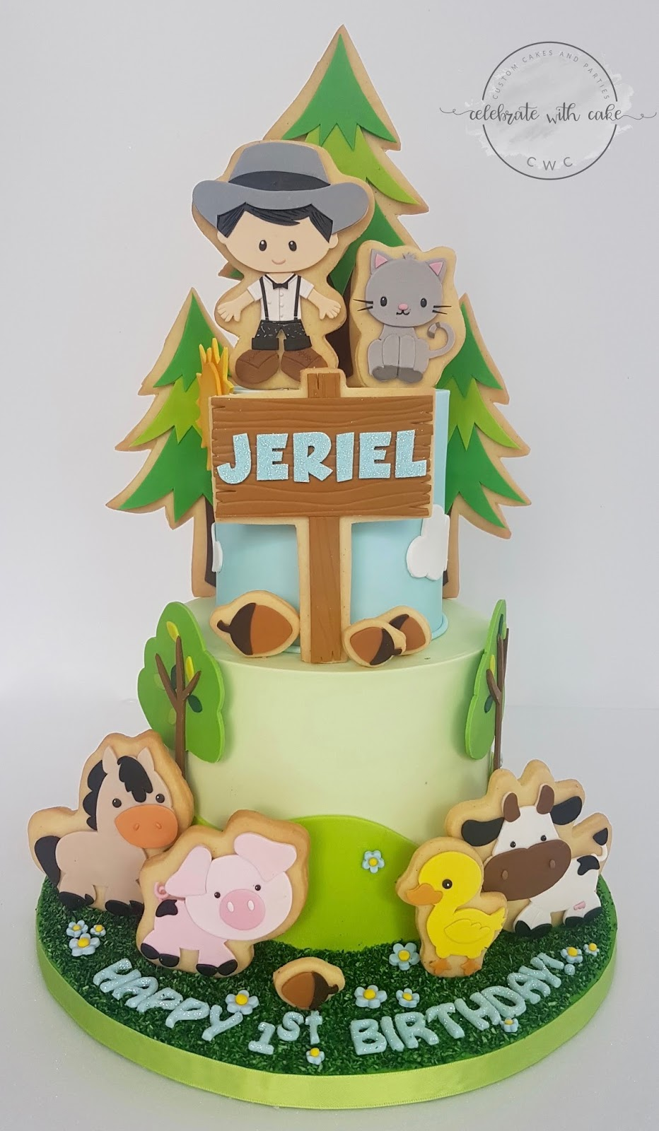 Celebrate with cake farm themed with decorations on for Anpanman cake decoration