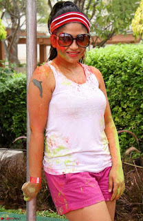 Madhulagna Das Playing Holi Celebrations in white Tank Top 03.jpg