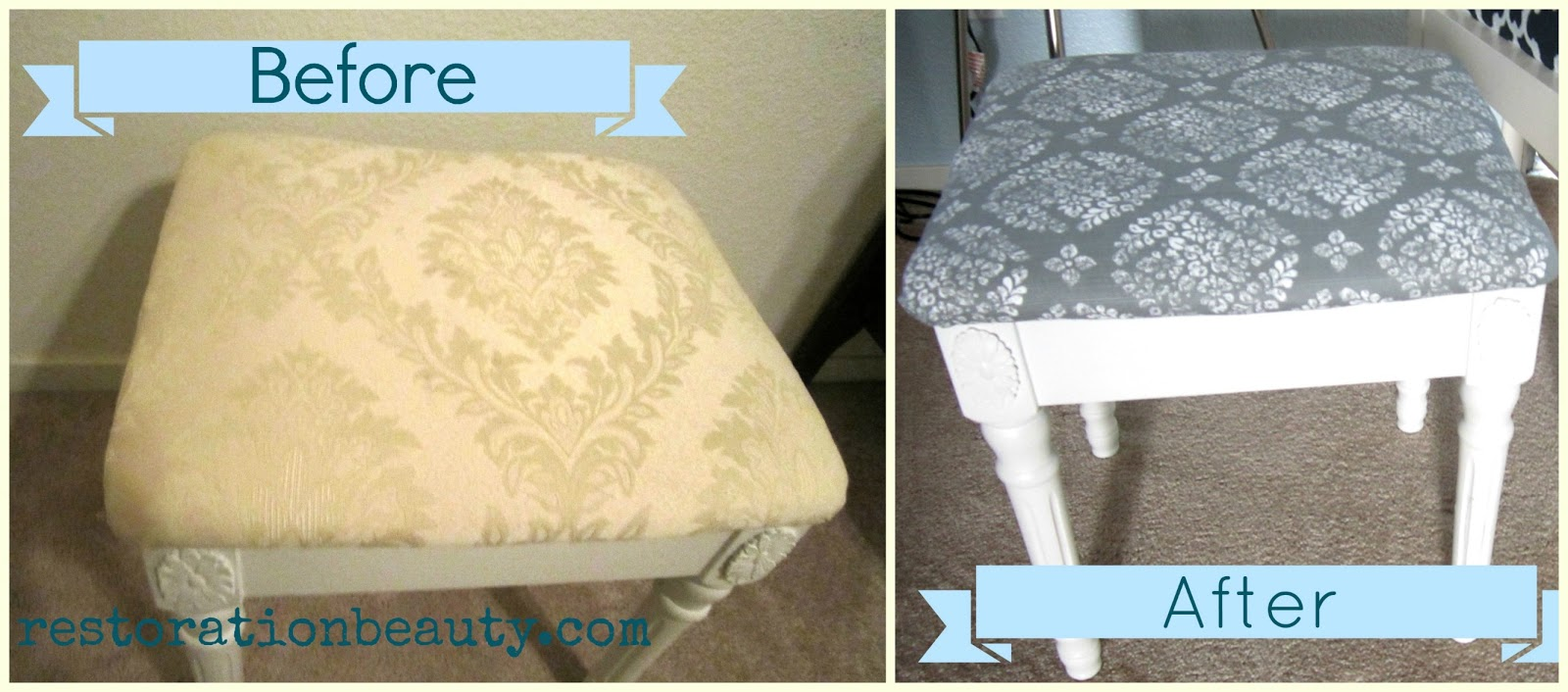 Awesome Restoration Beauty 15 Minute Vanity Stool Makeover Short Links Chair Design For Home Short Linksinfo