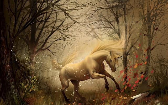"""Unicórnio, criatura mitológica, que tem a forma de um cavalo, geralmente branco, com um único chifre em espiral no meio da testa.  O nome """"unicórnio"""" significa """"um só chifre"""". Sua imagem está associada à pureza e à força. Segundo as narrativas, eles são seres dóceis; porém são as mulheres virgens que têm mais facilidade para tocá-los."""