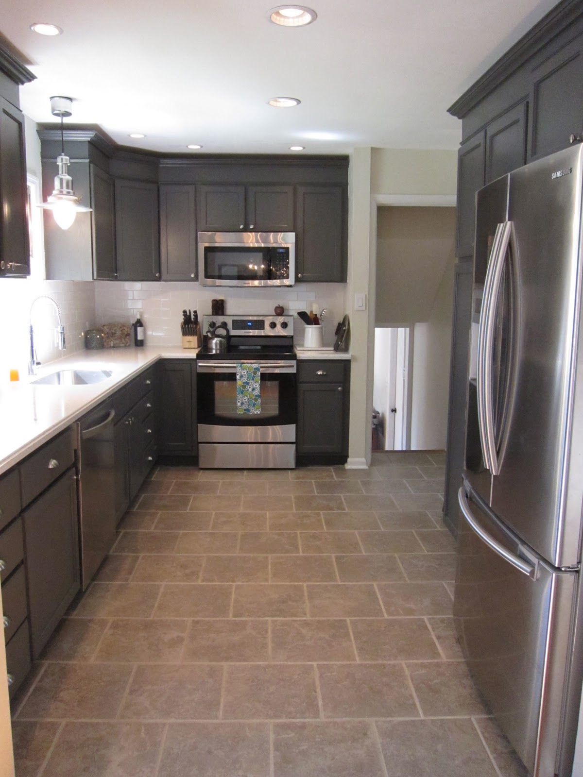 Remodelaholic Kitchen Redo With Dark Gray Cabinets White Subway Tile - Grey cabinets in small kitchen