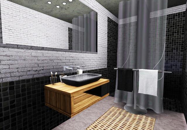 salle de bain noir et blanc sims 3