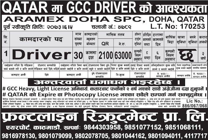 Free Visa, Free Ticket Jobs For Nepali In Qatar Salary- Rs.63,000/