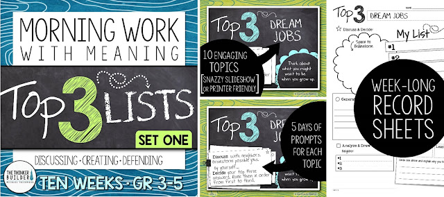 https://www.teacherspayteachers.com/Product/Morning-Work-with-Meaning-Top-3-Lists-Set-One-2744193