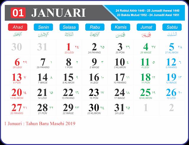Bulan Januari 2019