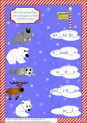 north animals spelling worksheet