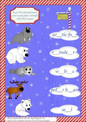 north animals spelling worksheet