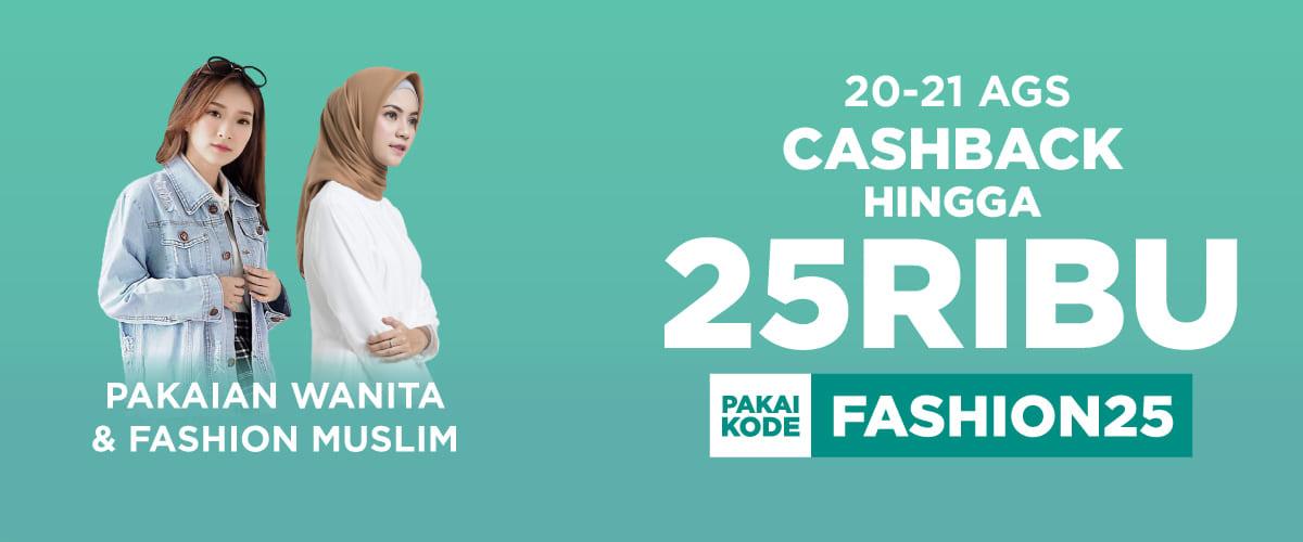 Shopee - Voucher Cashback 25 Ribu Untuk Pakaian Wanita (s.d 21 Agustus 2018)