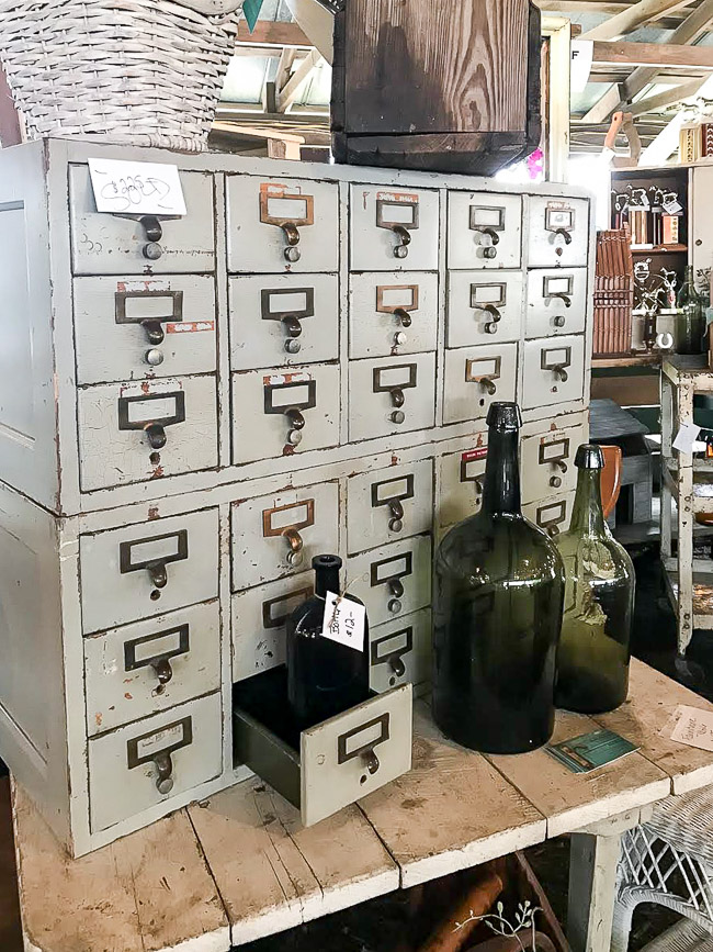 Painted vintage card catalog
