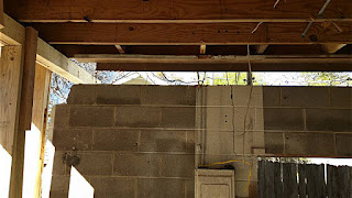 There is a really big gap between the wall and the second floor that demonstrates how far Ruben's crew had to raise the building to level it for the new foundation.