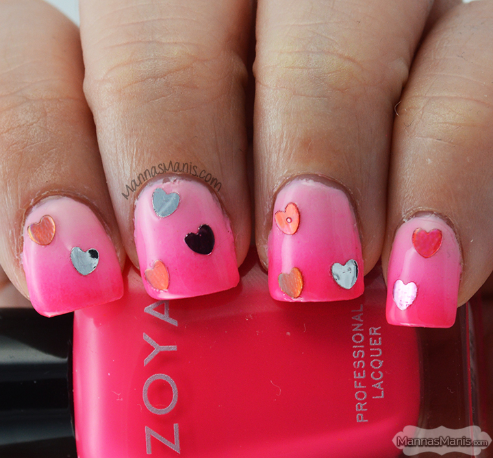 pink gradient nail art with hearts for valentine's day