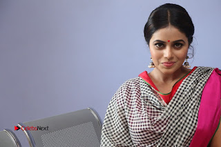Actress Poorna Pictures in Red Salwar Kameez at Jayammu Nischayammu Raa Teaser Launch  0254