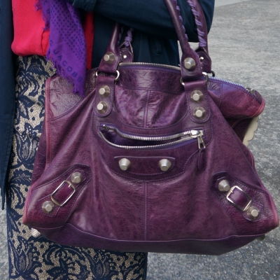Balenciaga raisin purple work bag slouchy broken in leather g21 silver hardware | away from the blue