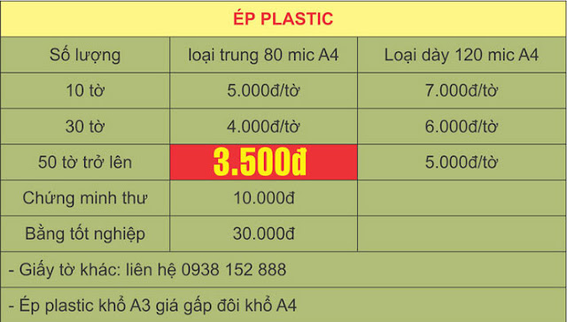Bảng giá ép plastic A4