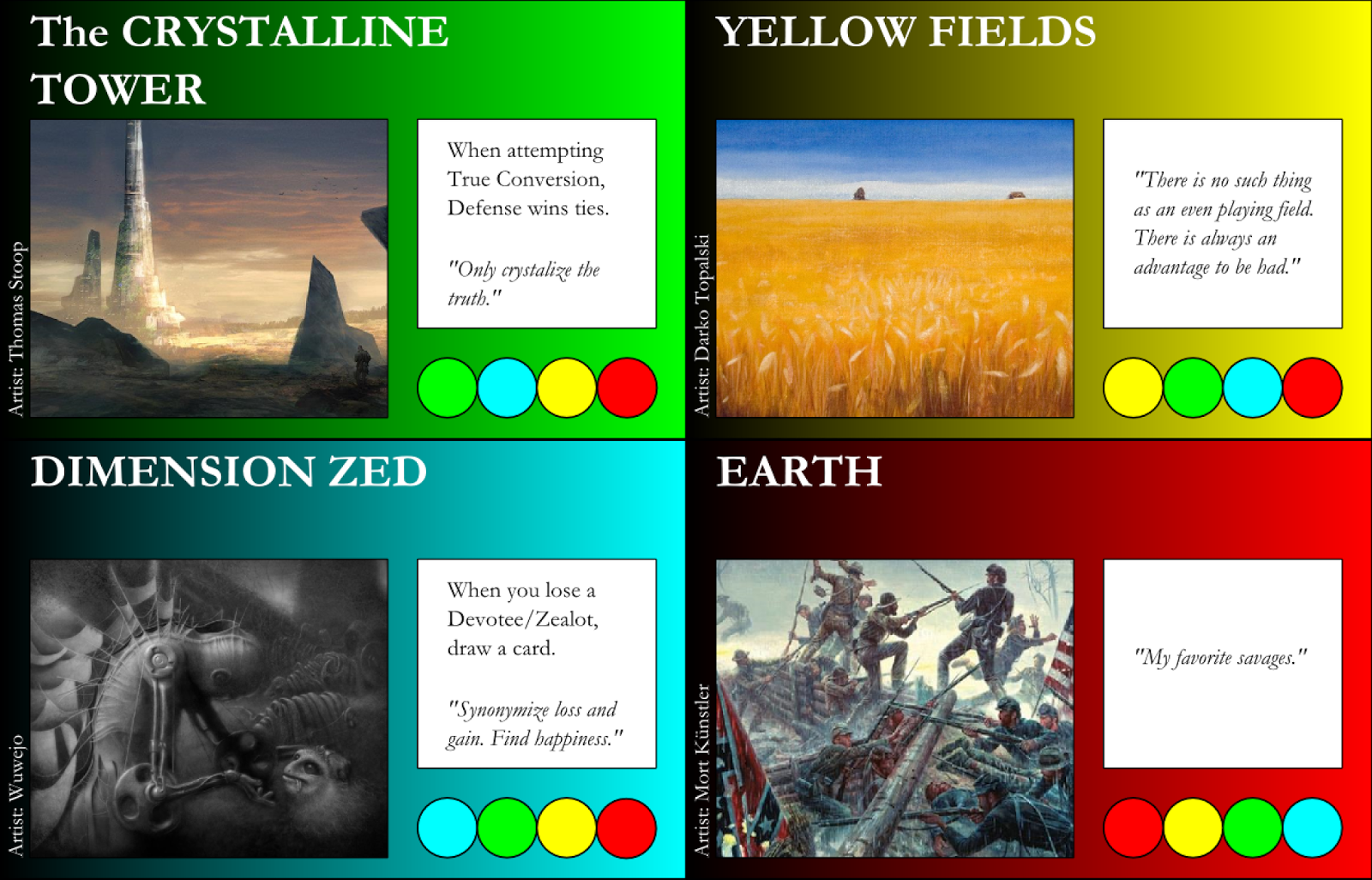 The Crystalline Tower, Yellow Fields, Dimmension Zed, & Earth