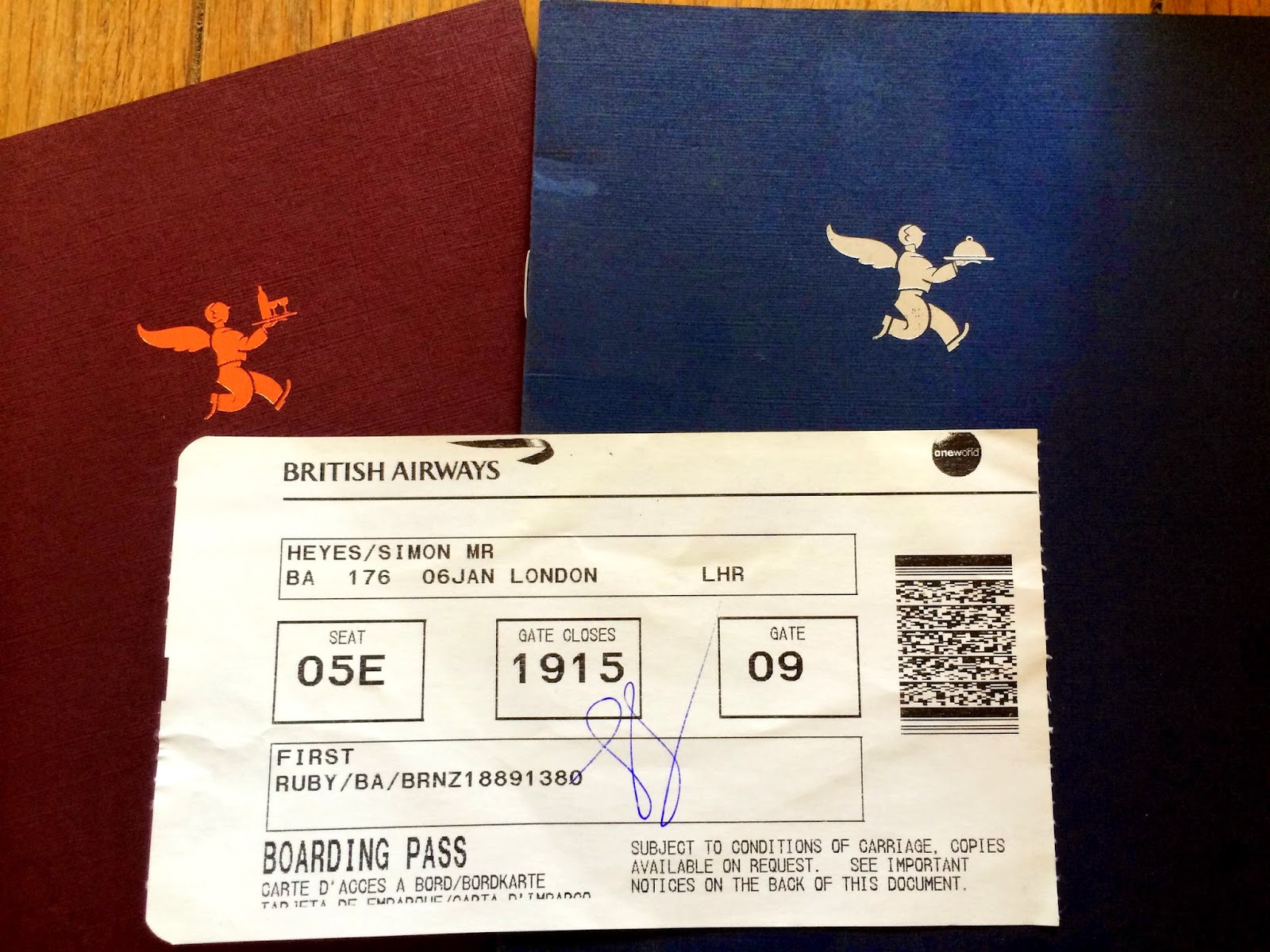 My BA First Class ticket, from New York to London Heathrow