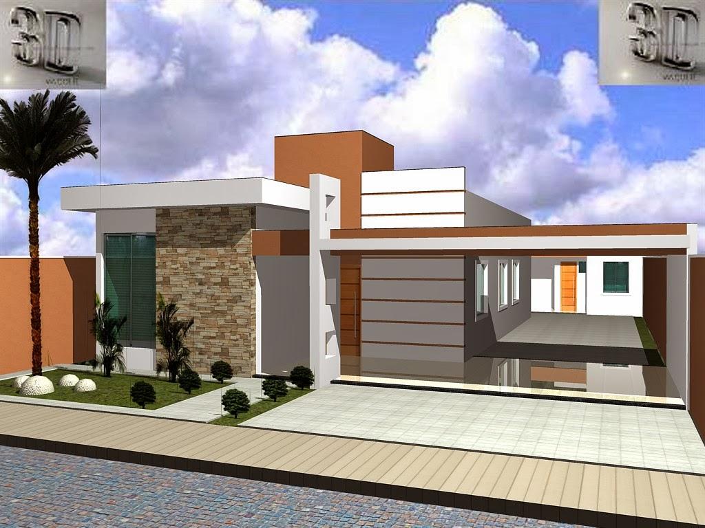 3danilo maquetes eletr nicas 3d fachada 3d casa em for Fachadas de casas modernas 1 pavimento