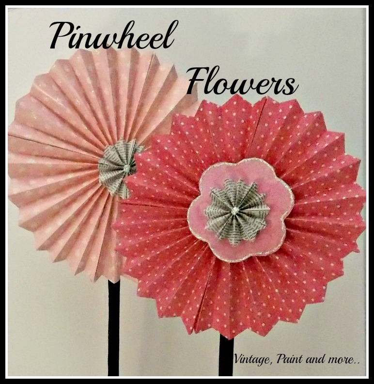 Vintage, Paint and more... pinwheel flowers made from scrapbook paper