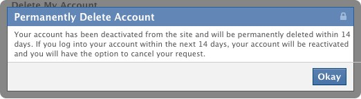 easiest way to delete your facebook account