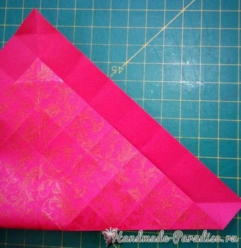 Коробочка РОЗА из бумаги в технике оригами. Мастер-класс (12)